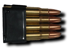 An M1 Garand en bloc clip loaded with eight .30-06 Springfield rounds.