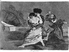 No quieren (They do not want to) by Francisco Goya (1746–1828) depicts an elderly woman wielding a knife in defense of a girl being assaulted by a soldier.[29]