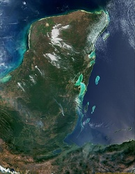 Satellite view of the Yucatán Peninsula