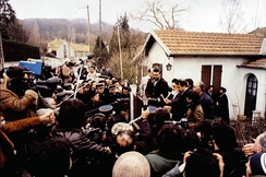 Ayatollah Khomeini in Neauphle-le-Château surrounded by journalists