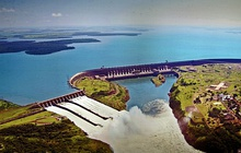 The Itaipu Dam on the Paraná River, the second largest of the world. Brazilian energy matrix is one of the cleanest in the world.