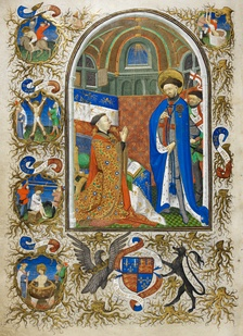 John of Lancaster, 1st Duke of Bedford, Knight of the Garter, kneels before Saint George who wears the blue mantle of the Order of the Garter. Illuminated miniature from the Bedford Hours, formerly in the Duke's private library