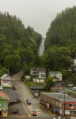 Example of the extremely steep roads in Ketchikan.