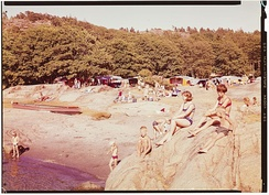 Sandefjord is a resort town which has Norway's highest number of annual cloud-free days.[103][104]Langeby Beach, 1966.