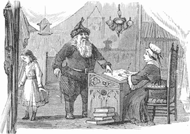 "The keeper of the naughty-or-nice ledger in ""Lill's Travels in Santa Claus Land"", 1878"