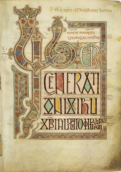 Folio 27r from the Lindisfarne Gospels contains the incipit Liber generationis of the Gospel of Matthew.
