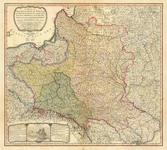 """A map of the Kingdom of Poland and the Grand Duchy of Lithuania including Samogitia and Curland divided according to their dismemberments with the Kingdom of Prussia"" from 1799"
