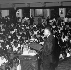 Martin Luther King, Jr. lecturing at Temple University