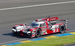The No. 8 Audi R18 of Lucas di Grassi that set the fastest overall lap time in testing.