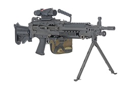Most squad automatic weapons, such as this M249, have a bipod to increase accuracy in full-automatic mode.