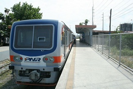 A PNR DMU train in the Philippines
