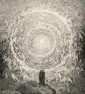 Divine Comedy: Dante and Beatrice see God as a point of light.