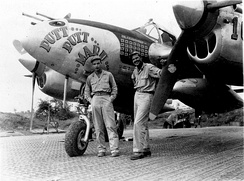 Col. MacDonald and Al Nelson in the Pacific with MacDonald's P-38J.