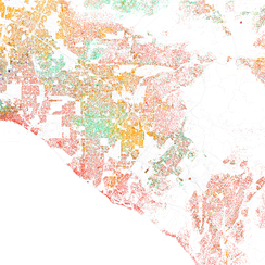 Map of racial distribution in Santa Ana, 2010 U.S. Census. Each dot is 25 people: White, Black, Asian, Hispanic or Other (yellow)