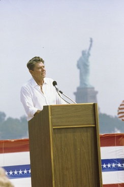 Ronald Reagan giving a speech at Liberty State Park in Jersey City, New Jersey on September 1, 1980.