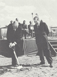 Cockcroft at a sod turning for the Saskatchewan Accelerator Laboratory in Saskatoon, Canada in May 1962