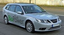 Saab 9-3 SportCombi BioPower. The second E85 model introduced by Saab in the Swedish market in 2007.