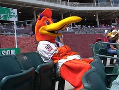 Delmarva Shorebirds' mascot, Sherman, in the seats of Perdue Stadium.