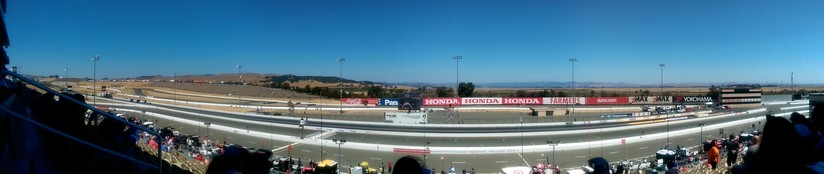 The view from the upper main grandstand at the finish line at Sonoma Raceway