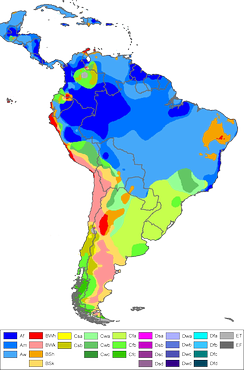 Map of South America according to Köppen climate classification