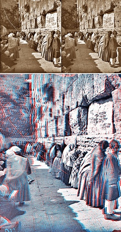 A stereoscopic pair of images (top) and a combined anaglyph that colors one perspective red and the other cyan. 3D red cyan glasses are recommended to view this image correctly.