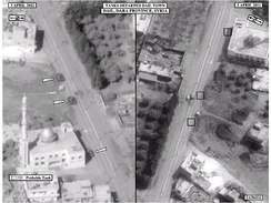 US Satellite imagery of Syrian tanks departing Da'el in Daraa province after several days of assaults against the town in April 2012.
