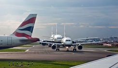 British Airways aircraft queuing for take-off