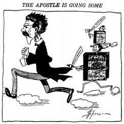 Reed Smoot is shown fleeing two volumes of the Journal of Discourses. Protestants used quotes from the volumes of teachings of the prophets when asking Smoot questions about his religion.[11]