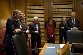 Barack Obama and Joe Biden with Supreme Court justices in the court's conference room, on January 14, 2009, the week before the inauguration. Shown are Chief Justice Roberts and Justices Stevens, Thomas, Ginsburg, and Souter