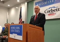 Corbett in November 2013 during his reelection campaign tour