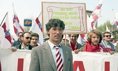 Umberto Bossi at the first Lega Nord rally in Pontida, 1990