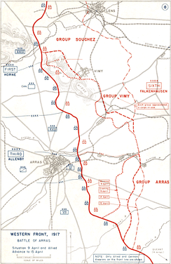 Front lines at Arras prior to the assault.