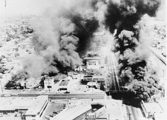 The buildings burning during Watts riot