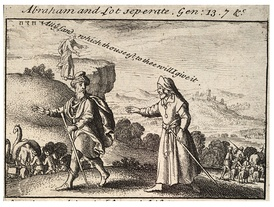 Depiction of the separation of Abraham and Lot by Wenceslaus Hollar