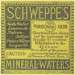 An 1883 advertisement for Schweppes Mineral-Waters
