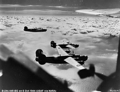 B-24 Liberators of the 445th Bomb Group on a mission over enemy-occupied territory