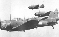A-24 Banshee Dive Bombers, used in attacks on Kiska and Attu by the 635th Bombardment Squadron (Dive)