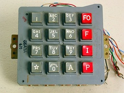 The keypads on telephones for the Autovon systems used all 16 DTMF signals. The red keys in the fourth column produce the A, B, C, and D DTMF events.