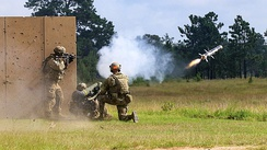 Paratroopers from 504th Infantry fire a FGM-148 Javelin at targets during Decisive Action 19-08.5