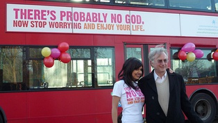 With Ariane Sherine at the Atheist Bus Campaign launch in London