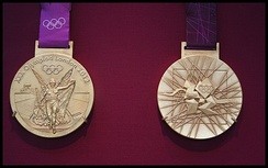 Photo of 2012 gold Olympic medals