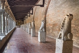Musée des Augustins cloister (14th c.) with display of gargoyles salvaged from demolished churches
