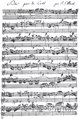 Hand-written musical notation by J. S. Bach (1685–1750). This is the beginning of the Prelude from the Suite for Lute in G minor BWV 995 (transcription of Cello Suite No. 5, BWV 1011).