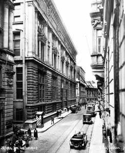 A view of Bankalar Caddesi (Banks Street) in the early years of the Turkish Republic. Completed in 1892, the Ottoman Central Bank headquarters is seen at left. In 1995 the Istanbul Stock Exchange moved to İstinye, while numerous Turkish banks moved their headquarters to the central business districts of Levent and Maslak.