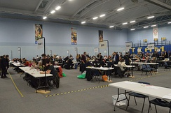 The count for the Bath 2019 general election, carried out in a sports hall which is a common count location
