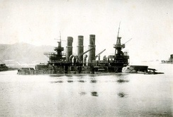 Retvizan sinks in Port Arthur, 1904
