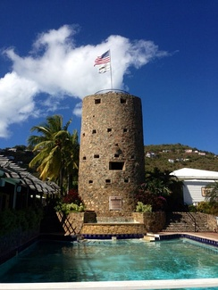 Blackbeard's Castle (Skytsborg) was built on Government Hill in 1679 and is today a U.S. National Historic Landmark.
