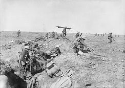 British infantry advance near Ginchy. Photo by Ernest Brooks.