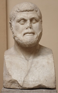 "A Roman-era bust of Themistocles in ""Severe style"",[24] based on a Greek original, in the Museo Archeologico Ostiense, Ostia, Rome, Italy. The lost original of this bust, dated to circa 470 BC, has been described as ""the first true portrait of an individual European"".[25]"