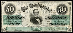 Davis was first depicted on the 1862 $50 CSA note issued between April and December 1862.